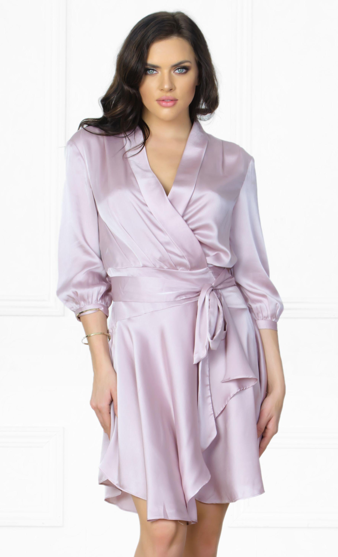 First date light purple lavender 34 sleeve cross wrap v