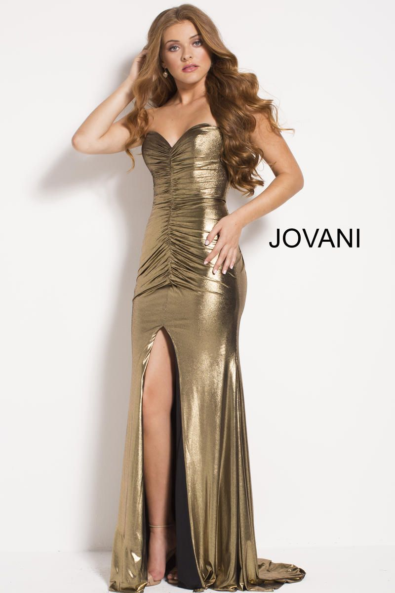 d18dc35f2817 Check out the deal on Jovani 51552 Ruched Metallic Prom Gown at French  Novelty