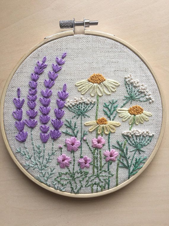 Embroidery hoop art gift for her  Hand embroidered lavender home decoration  Framed botanical wall art  Floral hand stitched room decor  вышивкабисерленты