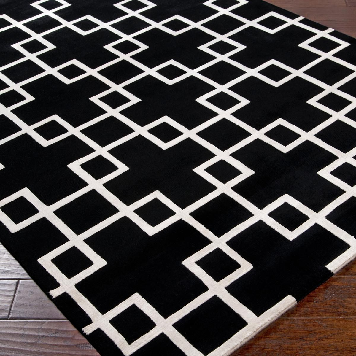 Modern Squares Plush Wool Handknot Rug You can't be shy ...