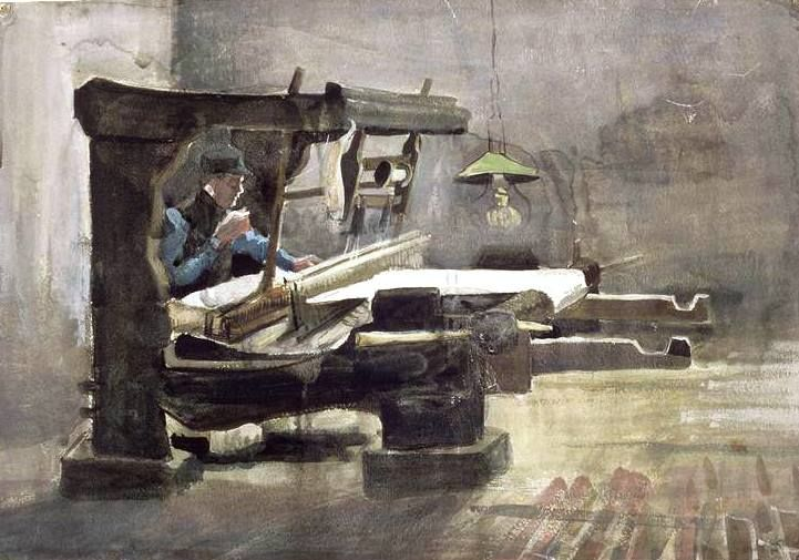 Van Gogh, The Weaver, February 1884. Ink and watercolor on paper, 31.8 x 45.1 cm. Musée du Louvre, Paris.