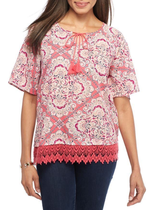 c25a3f4d0ea New Directions Women s Plus Size 3X Coral Scarf Print Crochet Hem Tie Neck  Top  NewDirections  Blouse  Casual