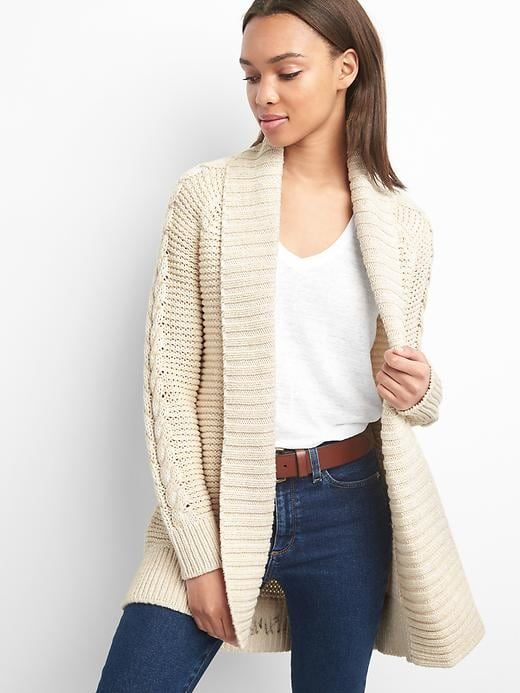 Gap Womens Cable-Knit Cardigan Oatmeal | Cable knit cardigan ...