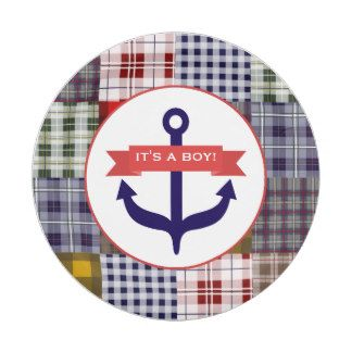 Anchor + Plaid Boy Baby Shower 7 Inch Paper Plate  sc 1 st  Pinterest & Anchor + Plaid Boy Baby Shower 7 Inch Paper Plate | Baby Shower ...