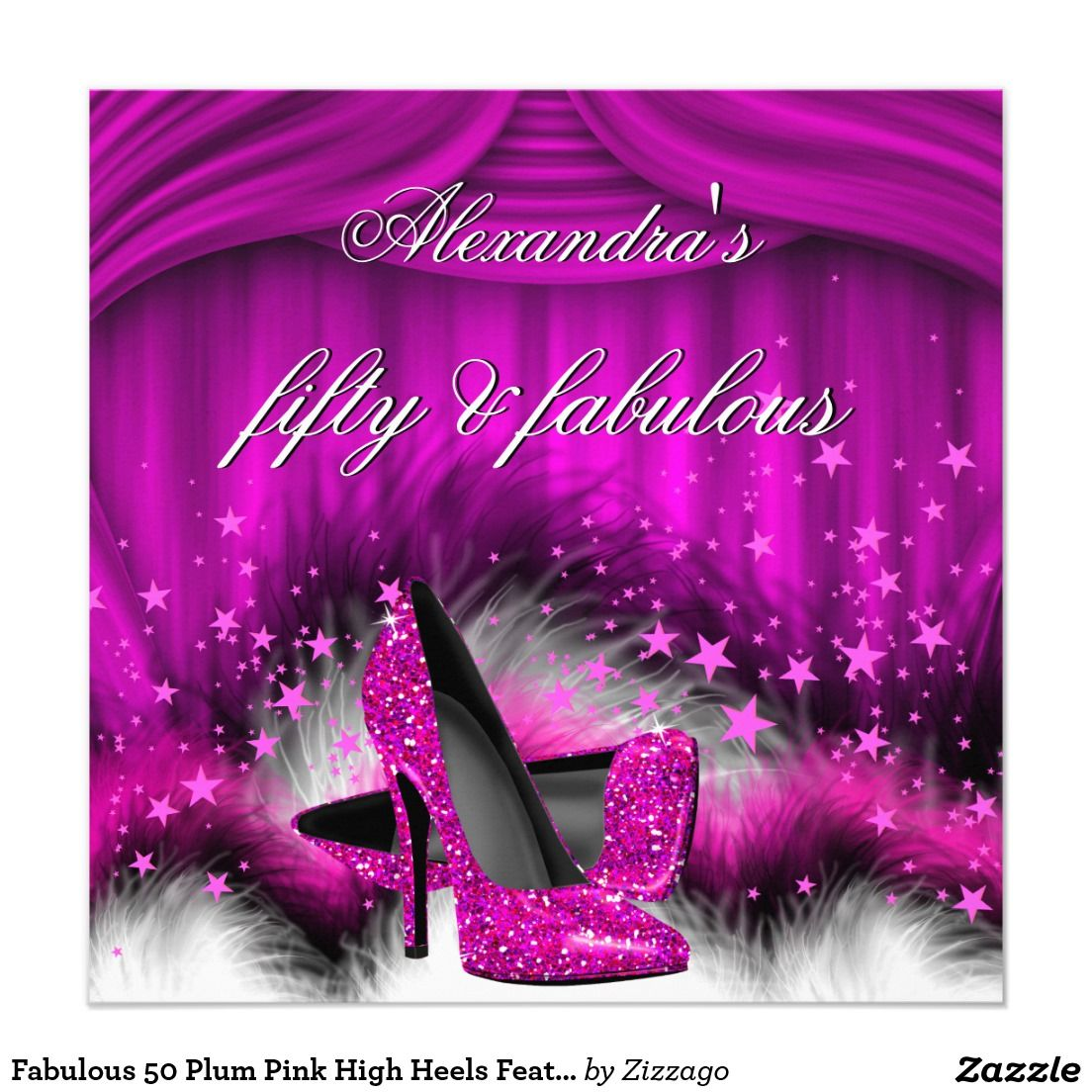 Fabulous 50 Plum Pink High Heels Feathers Birthday 525x525 Square