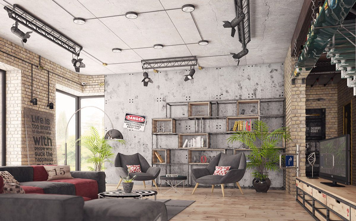 Four Types Of Industrial Style Decor Industrial Interior Living