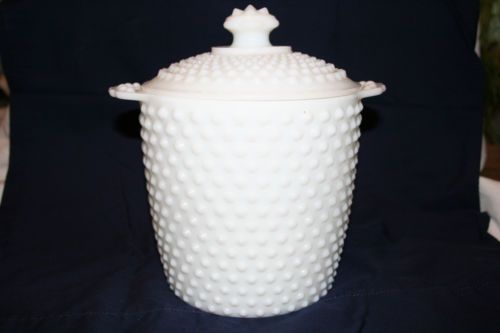 Vintage White Hobnail Milk Glass Canister Cookie Jar | eBay