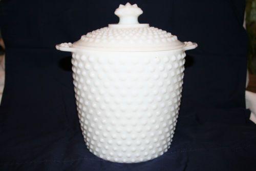 Vintage White Hobnail Milk Glass Canister Cookie Jar | eBay