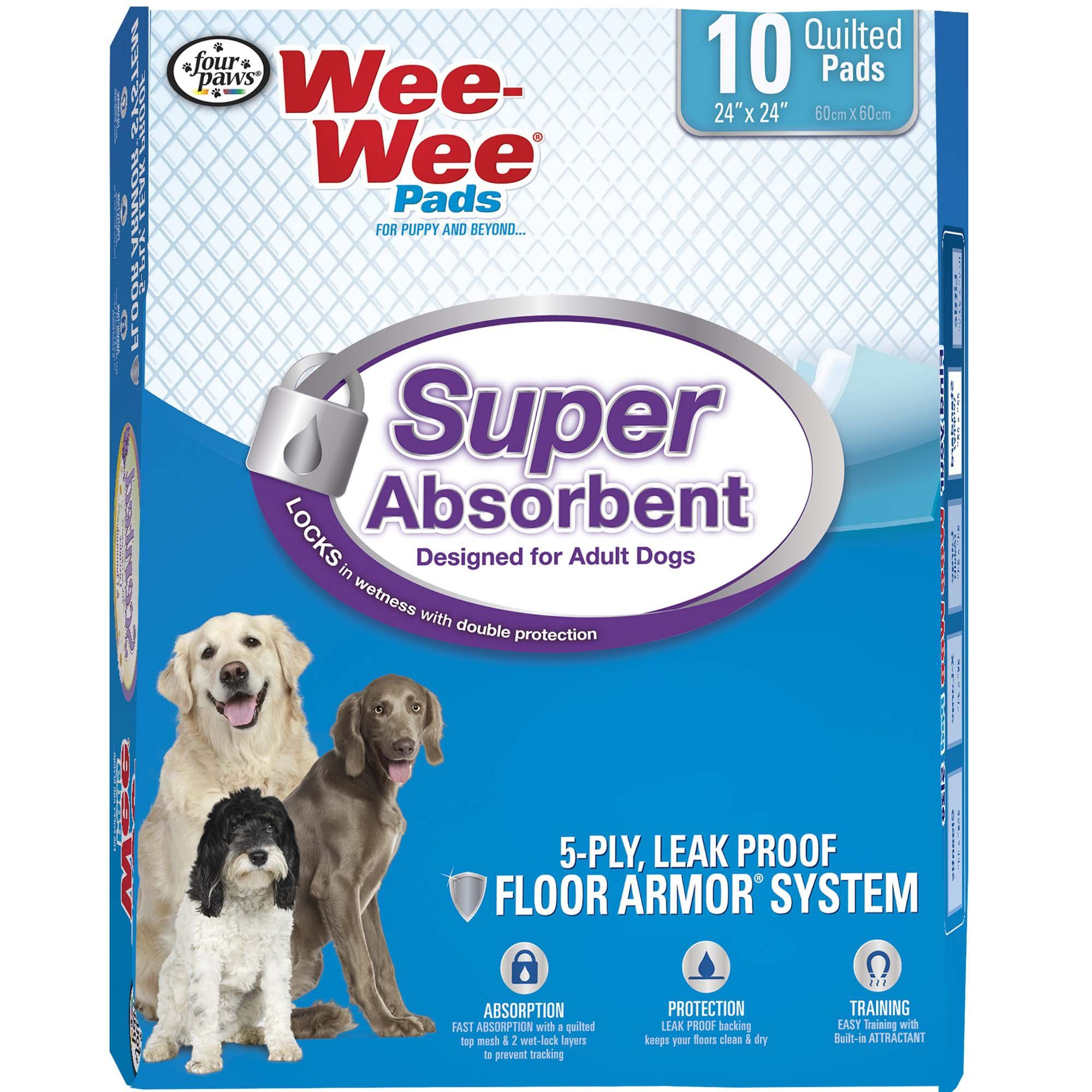 Wee Wee Super Absorbent Pack Of 10 Pads Puppy Pads Dog Pads