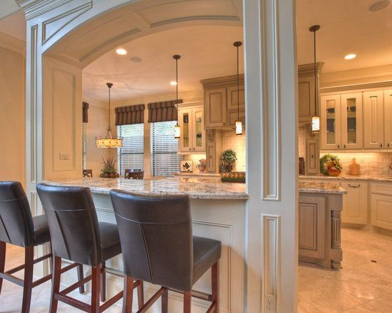 Open concept kitchens with pass thru half wall columns google