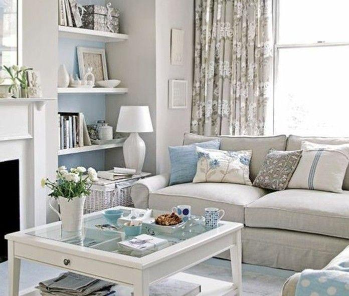 superbe idee deco salon gris et blanc avec des touches de bleu ciel ...
