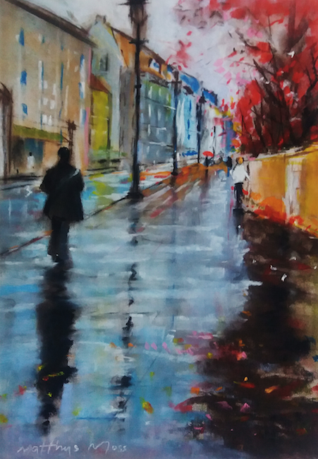 RAIN IN PARIS, pastel painting by Matthys Moss.