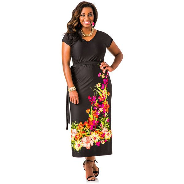 Ashley Stewart Floral Border V Neck Maxi Dress Black 69 Aud Found