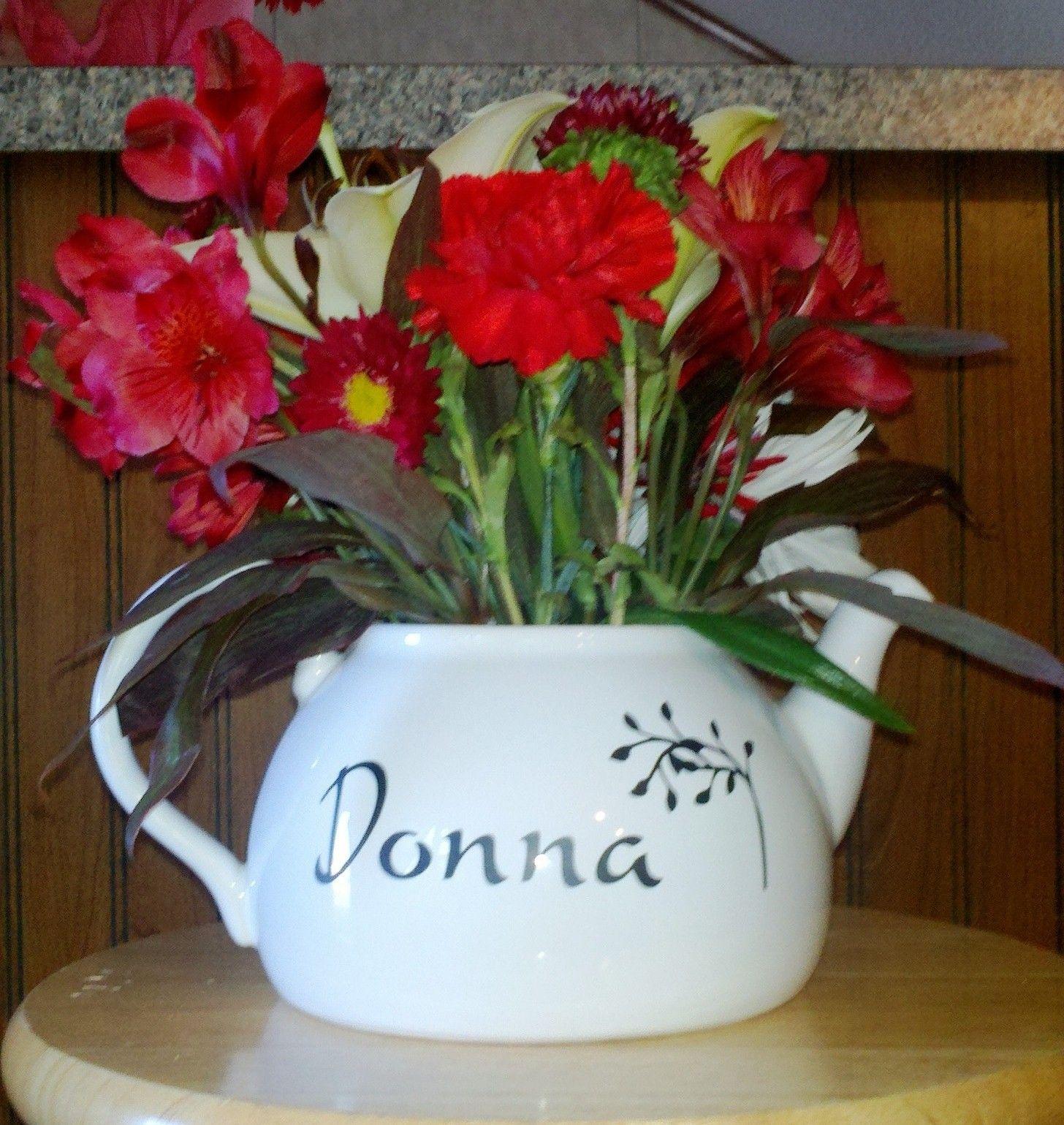 Teapot flower arrangement wcricut vinyl made for 80th birthday tea teapot flower arrangement wcricut vinyl made for 80th birthday tea party back izmirmasajfo