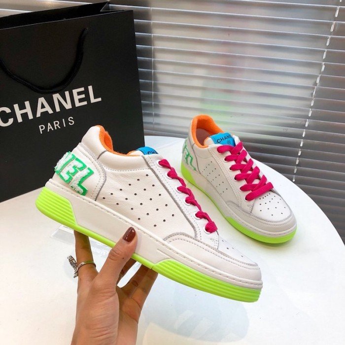 Chanel Spring Summer 2020 White Neon Trainers In 2020 Casual Shoes Women Womens Sneakers Trainers Women
