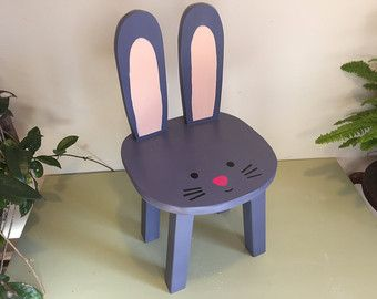 Bunny chair | Wooden animal stool | Purple Gray Rabbit | Hand painted toddler chairs | Woodland theme nursery | Kids furniture