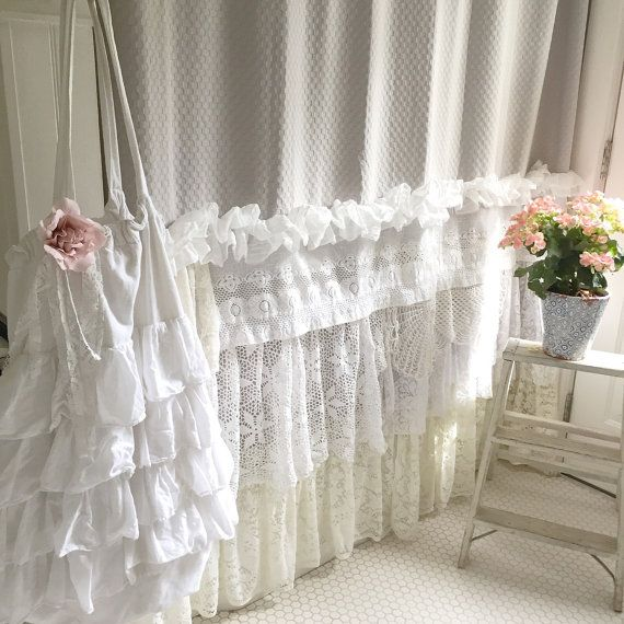 shabby cottage chic shower curtain grey lace by. Black Bedroom Furniture Sets. Home Design Ideas