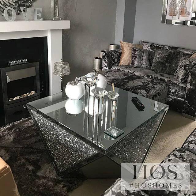 Exclusive Diamond Crush Coffee Table, Diamond Furniture Living Room Sets