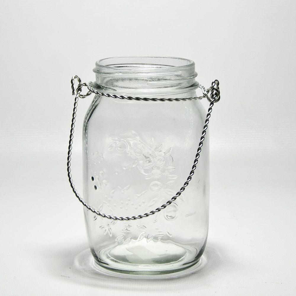 Large Decorative Glass Jars With Lids Mason Jars Wire Handles  Mason Jar With Wire Handle 4455Gls1Cl