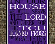 Popular Items For Tcu Horned Frogs On Etsy Tcu Horned Frogs Personalized Family Print Horned Frogs