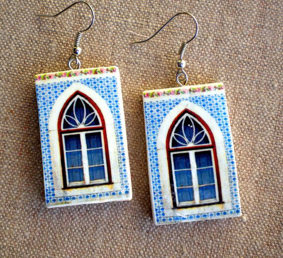 Portugal  Antique Azulejo Tile Replica WINDOW Earrings from Cartaxo- BLUE with FLOWER Border (see facade photo) Avricartaxo 273