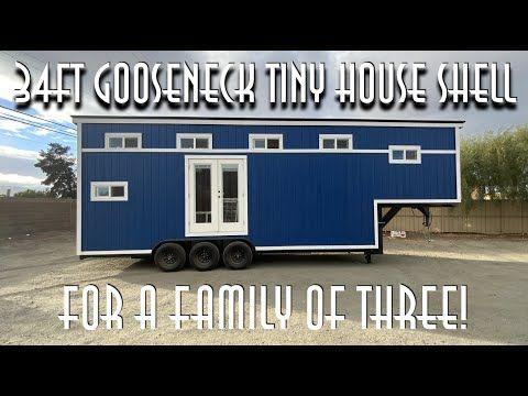 34ft Gooseneck Tiny House Shell for a Family of Three