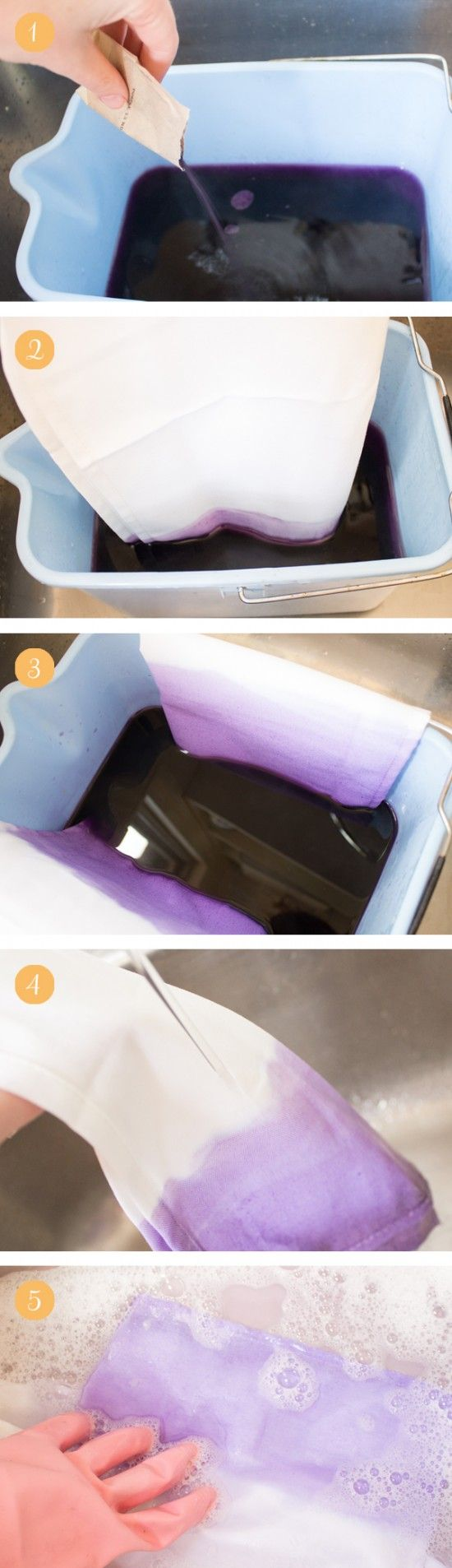 Ombre Dip-Dyed Napkins – Dip Dyeing Tutorial #dyeingtutorials