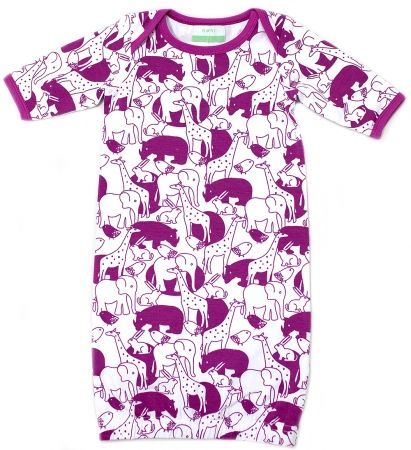 Organic Newbie Gown - Zoo Purple - hardtofind.