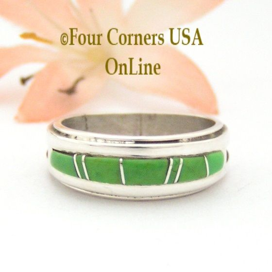 Four Corners USA Online - Size 7 Gaspeite Inlay Ring Native American Wilbert Muskett Jr WB-1667 Sterling Silver Jewelry, $135.00 (http://stores.fourcornersusaonline.com/size-7-gaspeite-inlay-ring-native-american-wilbert-muskett-jr-wb-1667-sterling-silver-jewelry/)