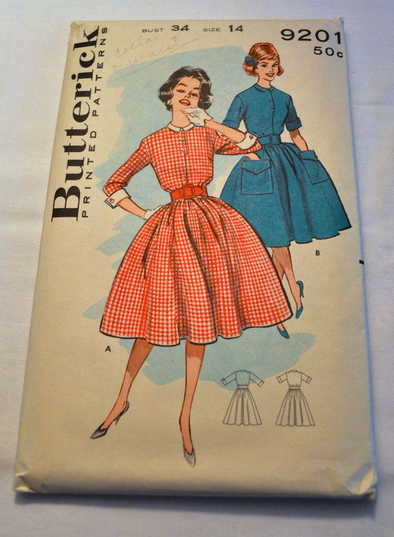 Vintage Butterick 9201 women\'s shirt waist dress pattern 1960s ...