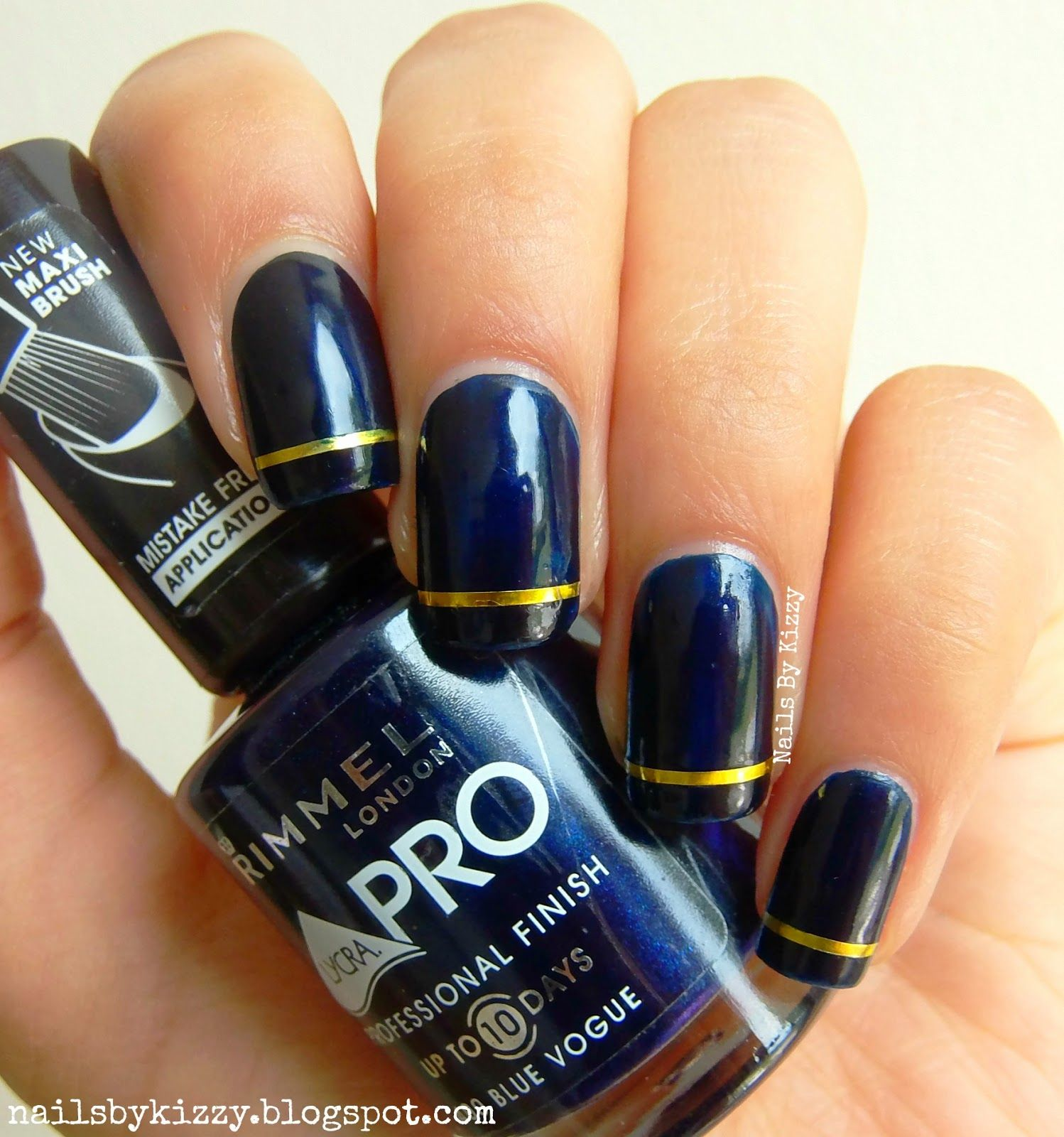 Blue and gold nails - Nails By Kizzy