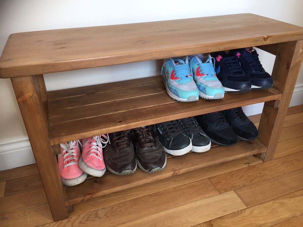 Handmade Solid Wooden Pine Shoe Rack Hall Bench Storage Seat