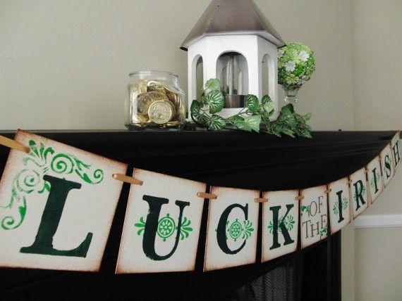 st patricks day Luck of the Irish banner, handmade sign ...