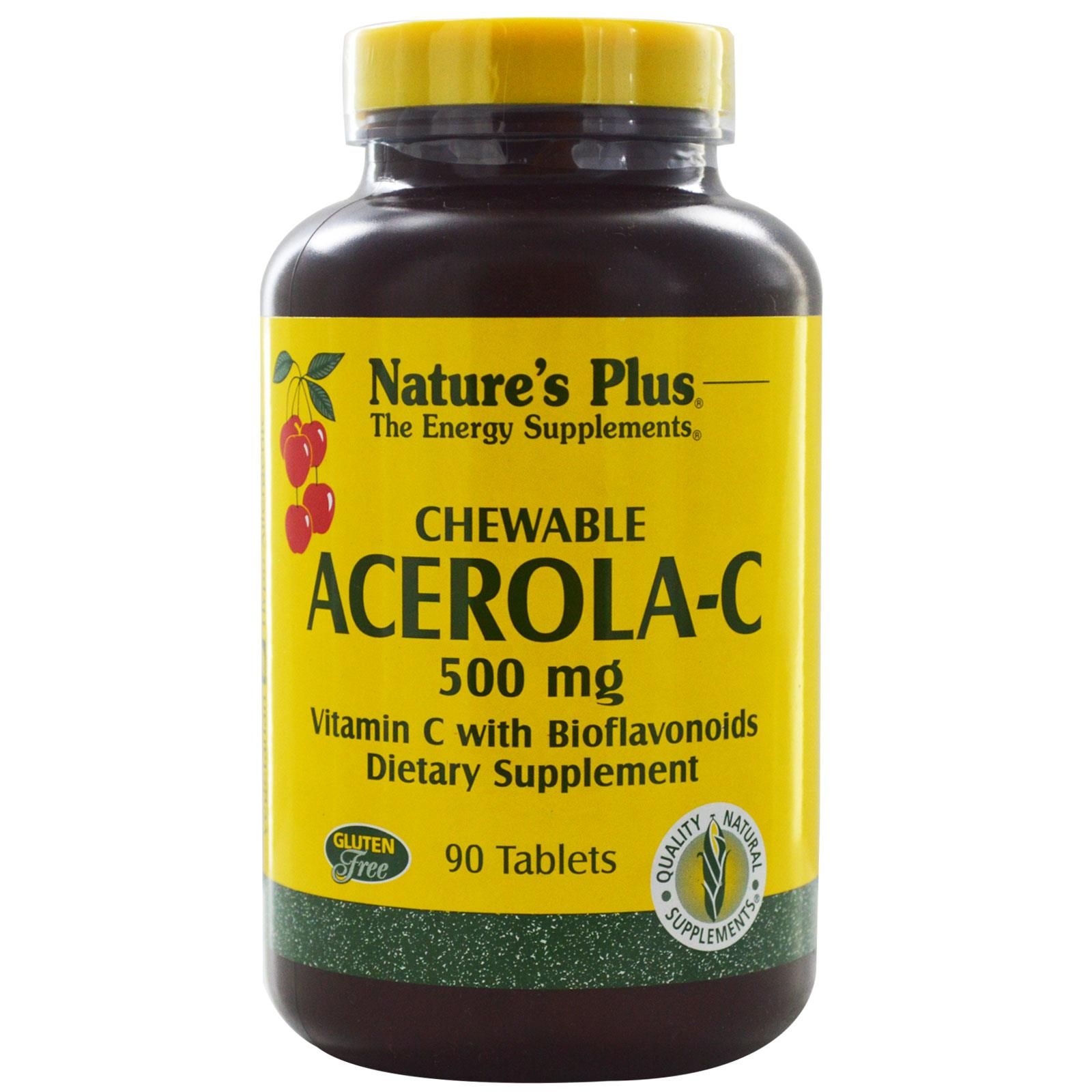 Nature's Plus, Chewable AcerolaC, Vitamin C with