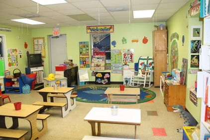 Colorful Wall Decor And Wood Furniture In Preschool And