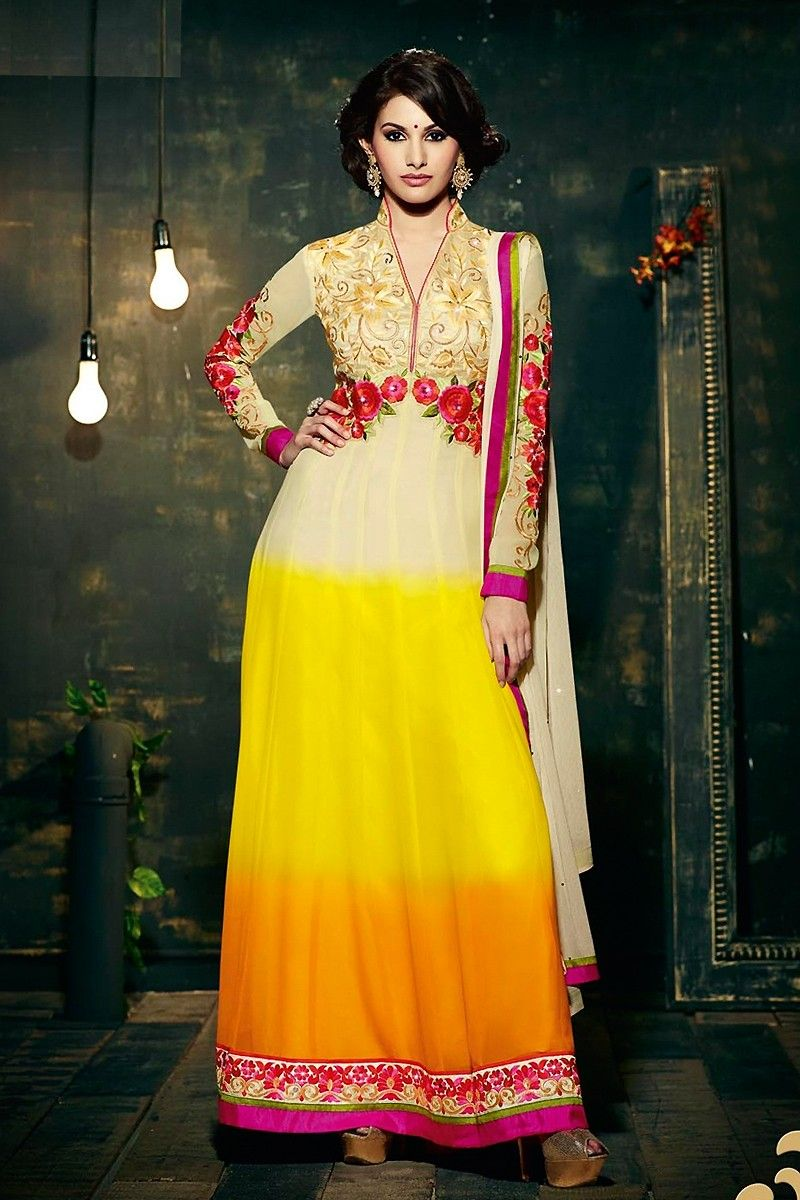 Georgette resham work multicolour semi stitched long anarkali suit
