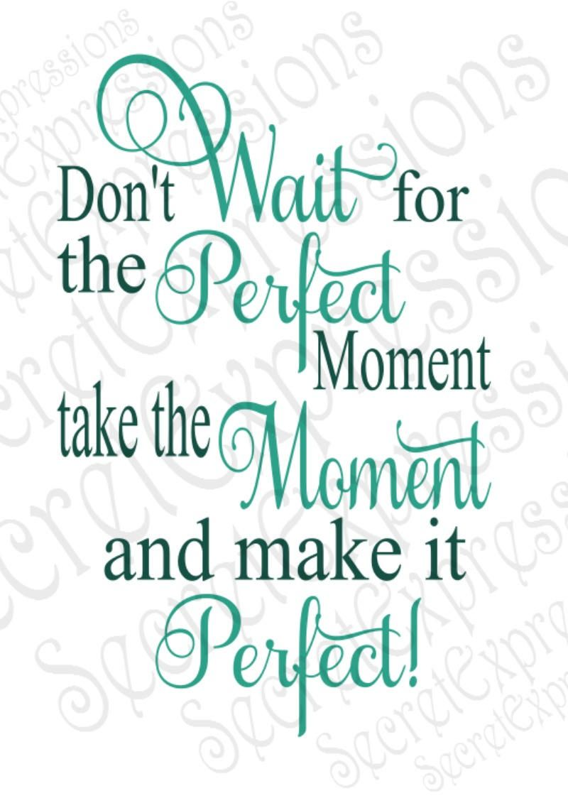 Don't Wait For the Perfect Moment take the Moment svg, Digital SVG File for Cricut or Silhouette, DXF, PNG, Jpg, Eps, Print File