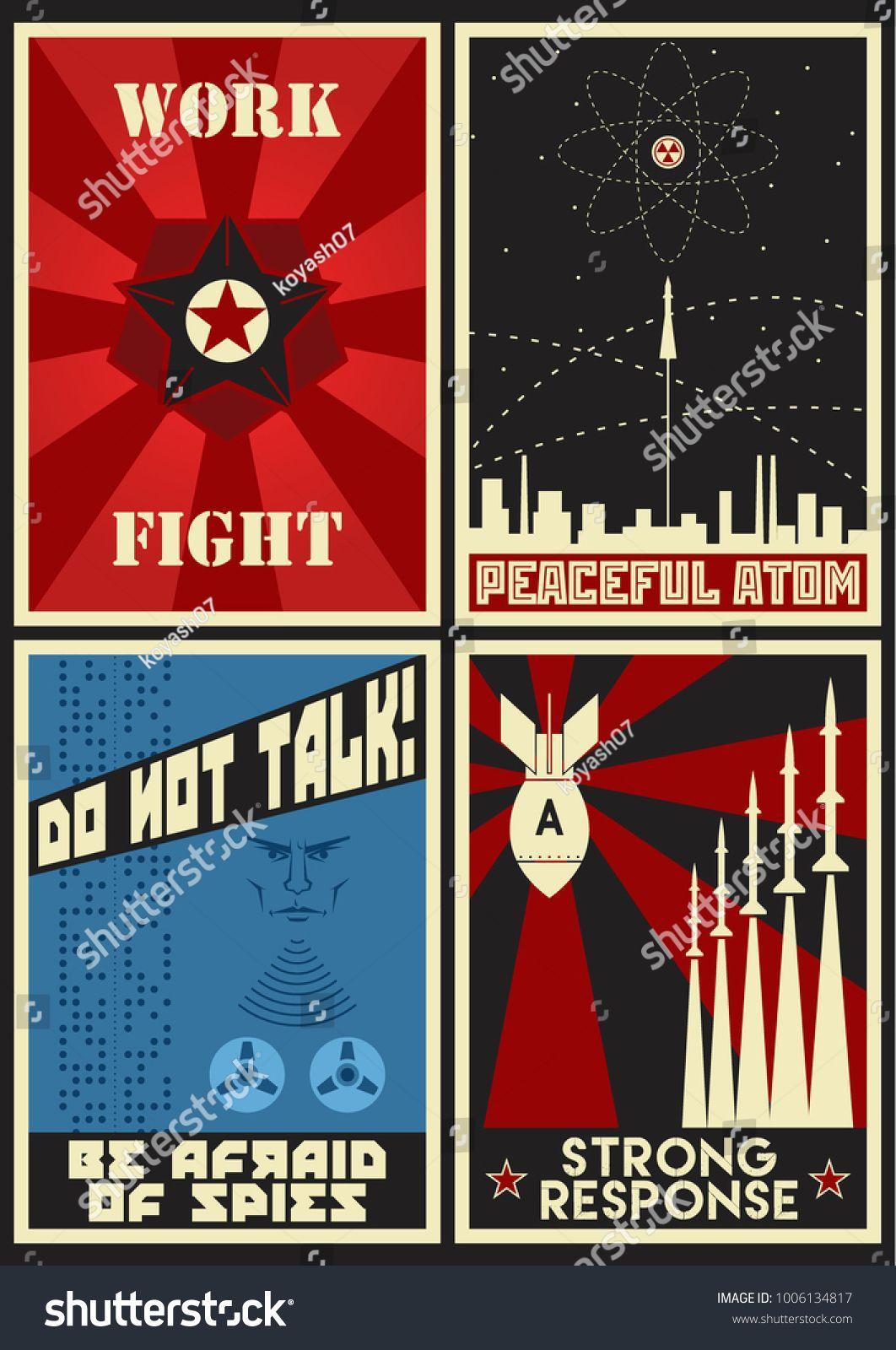Vector Old Soviet Cold War Propaganda
