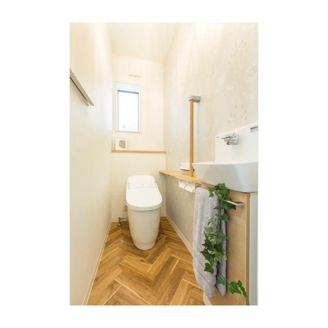 ヘリンボーンの床 トイレ おしゃれ トイレのデザイン トイレのアイデア