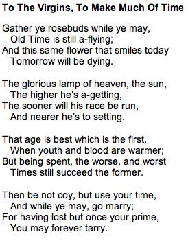 gather your rosebuds poem