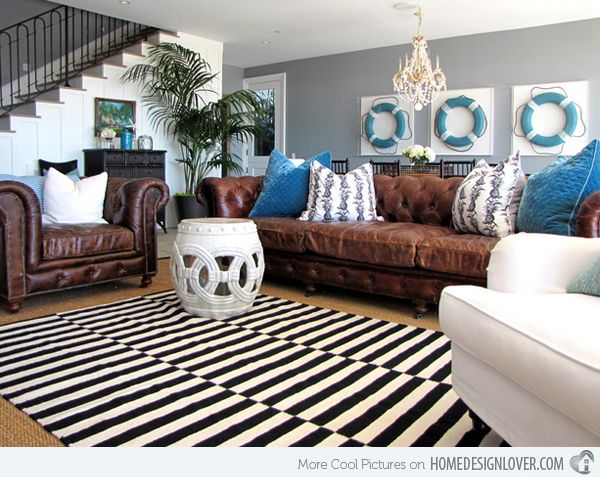 15 Interesting Combination Of Brown And Blue Living Rooms Home Design Lover Leather Couches Living Room Brown Living Room Brown Leather Couch Living Room