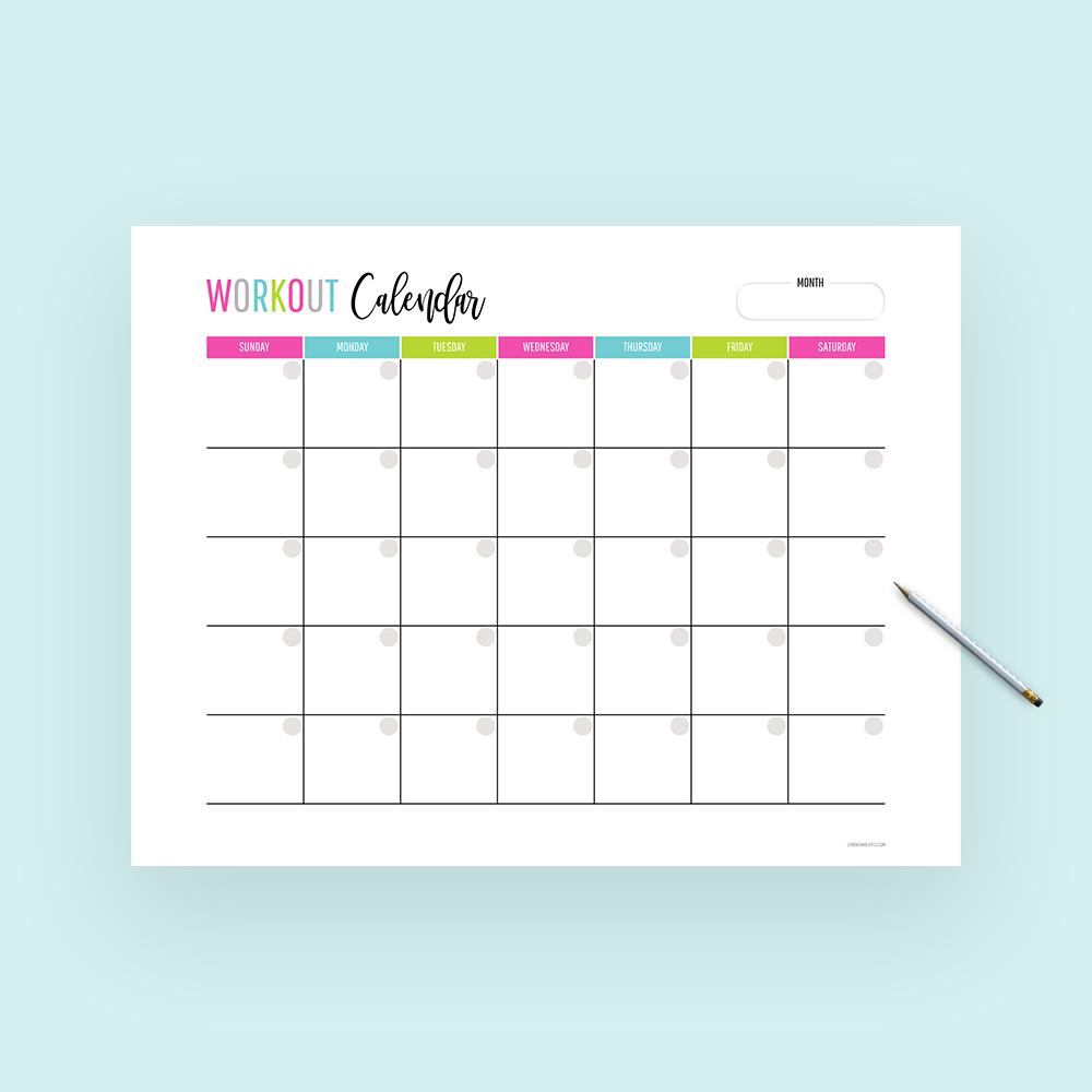Monthly Workout Calendar Workout Calendar Workout Calendar Printable Month Workout