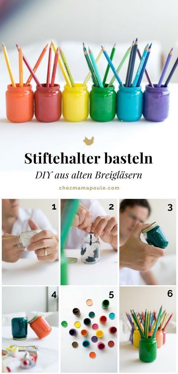 Upcycling & DIY-Idee für den Bastelbereich: Farbige Stiftehalter basteln #machesselbst–diy