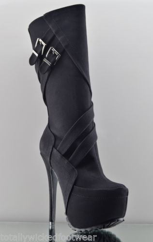 10571193262 ALBA Ambra Black Strap Buckle Sexy Deep Tread Winter Knee Boots Size 6.5 in  Clothing