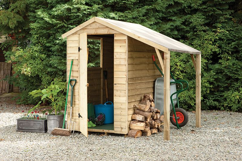 Garden Sheds 6x4 this 6x4 overlap apex shed with lean to offers an extra sheltered