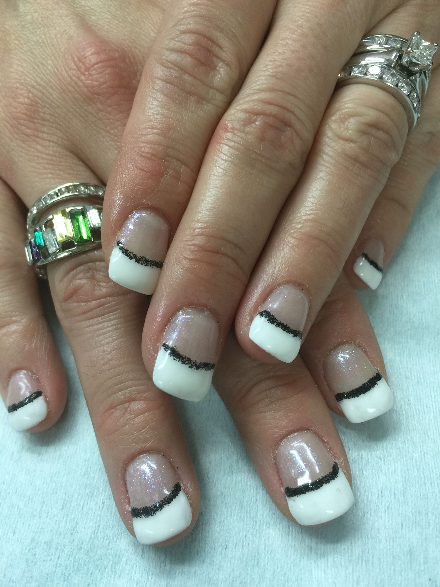 Sculpted length White French gel polish over non-toxic odorless hard ...