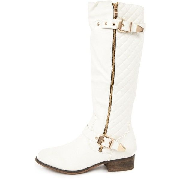 cb5c06d847 Amaya White Quilted Biker Boots (250 MXN) ❤ liked on Polyvore featuring  shoes