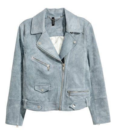 267d5a138f3db8 Jacke aus Velourslederimitat   Graublau   Damen   H&M DE   March17 ...
