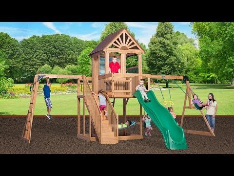 Oceanview Wooden Swing Set Outdoor Playhouses Wooden Swings