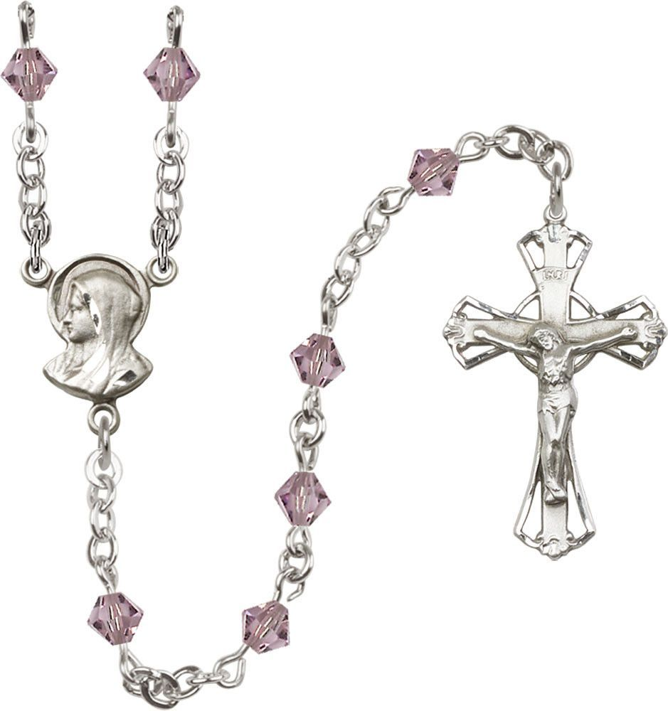 Bonyak Jewelry Sterling Silver Faceted Beads Crucifix Necklace
